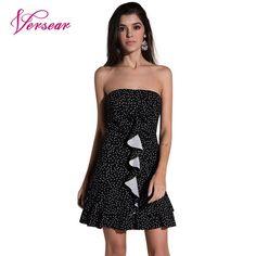 f4a462bc0aa Aliexpress.com   Buy Versear Women Polka Dot Mini Dress 2018 Korea Style  Fashion Off Shoulder Sleeveless Ruffles Party Casual Summer Sundress Black  from ...