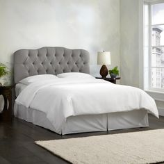Skyline Furniture Linen Grey Tufted Headboard. 78 inches wide x 4 inches deep x 51 inches high. King. $395.95.