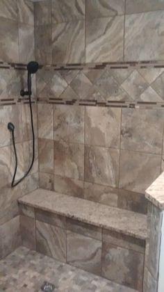 marazzi archaeology series tiles pinwheel mosaics bullnose granite wall caps bench seat