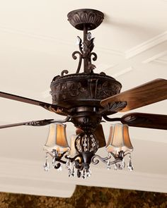 """Antoinette"" Ceiling Fan & Light Kit  at Horchow...if I HAD to do a ceiling fan..."