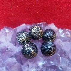 Round black and gold splatter glass beads #newjewlz #hempjewlz #hemp #jewelry #beads #glass #round #black #gold #splatter