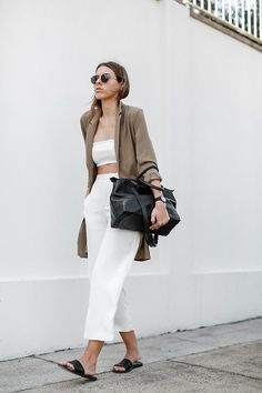 Asos Camel Longline Boyfriend Blazer, Josh Goot Stretch Knit Tube Top, Theory Wide Leg Cropped Silk Pants, Alexander Wang Black Leather Prisma Tote Bag, Common Projects Leather Slide Sandals, Ray Ban Round Metal Sunglasses