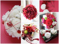 Right (red flowers and white orchids) ball bouquet for kimono