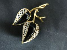 Vintage Designer Pin Brooch Gold Black White Enamel Modern Flower Tulip Runway