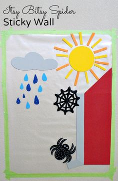 This Itsy Bitsy Spider Sticky Wall is great for toddlers and preschoolers to use when retelling the nursery rhyme, engaging in sensory exploration, and creating additional stories.