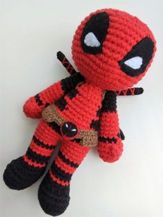 This listing presents Deadpool inspired crochet PDF pattern only (NOT ACTUAL DOLL) for amigurumi and superheroes addicted fans :) Its really possible and easy with this pattern to make super cute Deadpool doll by yourself for you, your friends or family Deadpool Kawaii, Cute Deadpool, Crochet Patterns Amigurumi, Amigurumi Doll, Crochet Dolls, Crochet Baby, Crochet Basics, Crochet Gifts, Stuffed Toys Patterns