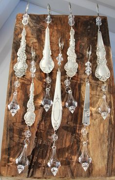 Silver Spoon Icicle Ornaments - set of 2 - Upcycled, Antique and Ornate - SALE. $17.95, via Etsy.