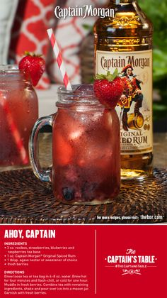 Set sail for extraordinary with this simple recipe infused with berry tea and Captain Morgan. (drinks with rum captain morgan) Bartender Drinks, Liquor Drinks, Cocktail Drinks, Alcoholic Drinks, Beverages, Bomb Drinks, Party Drinks Alcohol, Fancy Drinks, Rum Recipes