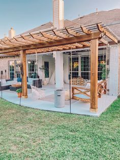 DIY Planked Ceiling Outdoor Patio Refresh - Life by Leanna - Pergola Ideas Diy Pergola, Patio Diy, Pergola With Roof, Gazebo, Covered Pergola, Small Pergola, Modern Pergola, Patio Ideas, Outdoor Pergola