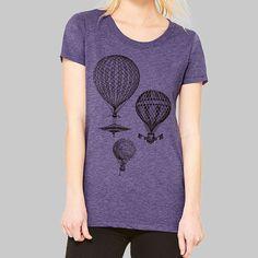 5150a5c1 Womens Fitted Tee Hot Air Balloon Tshirt // Graphic Tees, Junior Tops,  Screen Print Tee, Bella Canvas Tri Blend