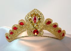 Gold and red headpiece. Ballet headpiece. Diana by DesignsEnPointe
