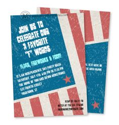 Cool 4th of July party invite featuring a portion of an American flag tilted and given a rough texture to lend a vintage feel. Customized text within the blue field of the flag. Add additional text on the reverse or delete to leave it blank. Available with matching products.