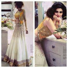 Mirror work lehenga wore by prachi desai in white and yellow color. Georgette lehenga with heavy mirror work. For details, msg me Lehenga Designs, Mehndi Designs, Indian Attire, Indian Ethnic Wear, Ethnic Suit, Ethnic Style, Indian Style, Pakistani Outfits, Indian Outfits