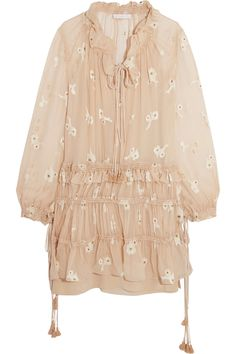 Shop on-sale Chloé Embroidered silk-chiffon mini dress. Browse other discount designer Dresses & more on The Most Fashionable Fashion Outlet, THE OUTNET.COM