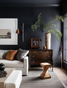 Living Room Designs, Living Spaces, Living Rooms, Dark Walls Living Room, Small Living, Modern Living, Accent Wall Colors, Hill Interiors, Black Interiors