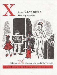 vintage 1955 X-ray nurse illustration.