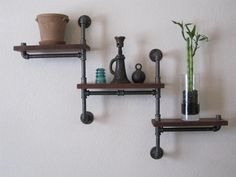industrial pipe and walnut shelf