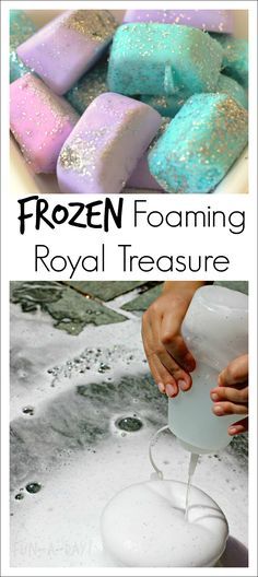 """Frozen-inspired science for preschoolers (and older kids)! Colorful treasure chests that foam, fizzle, and sparkle! The """"secret ingredients"""" add scent and color to the experiment. science for preschoolers preschool activities preschool crafts kindergarten Fairy Tale Activities, Preschool Learning Activities, Preschool Science, Science For Kids, Toddler Activities, Preschool Activities, Preschool Kindergarten, Summer Activities For Preschoolers, Rainforest Preschool"""