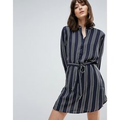 JDY Janey Stripe Belted Shirt Dress (£18) ❤ liked on Polyvore featuring dresses, navy, navy striped dress, woven dress, t-shirt dresses, navy blue dress and shirt dress
