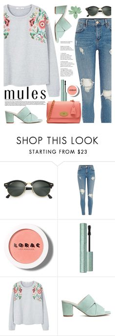 """""""Mules"""" by tamara-p ❤ liked on Polyvore featuring Ray-Ban, LORAC, MANGO, Mulberry and mules"""