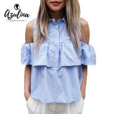 AZULINA 2017 Летние Женщины Случайный Холодный Оборками Блузка Рубашки Turn Down Синий Случайный Сексуальный Топы Сорочка Femme Blusas Дамы купить на AliExpress