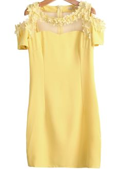 Yellow Off the Shoulder Short Sleeve Bead Slim Dress US$31.67