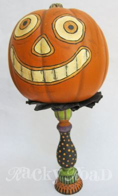 Happy Jack. Wood candle stick and foam pumpkin