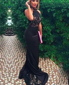 new arrival Sexy mermaid Prom Dress, lace high neck Prom Dress , black Prom Dress