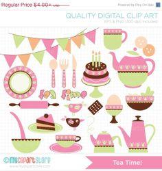 BLACK FRIDAY SALE - Tea Time / Tea Set Clip Art / Digital Clipart - Instant Download