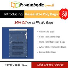 Now Introducing - Resealable Poly Bags ✔️ + Save 10% 🔖 On all Plastic Bags 🛒 + Free Shipping ✈️ 🛍️Use code: PB10 🛍️ Offer Expires: 9/16/18 ⬅️⬅️⬅️ @ https://www.packagingsuppliesbymail.com/clear-resealable-poly-bags.html #Packaging #Shipping #Plastic #FreeShipping #Coupon #Packers #NewProduct #Resealable #Bags