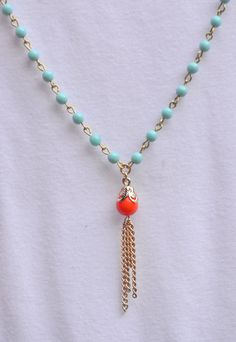 Frange longue or collier en Turquoise et corail Orange. Collier long or Tassel Orange corail. Collier en or de gland. Collier de l'instruc...