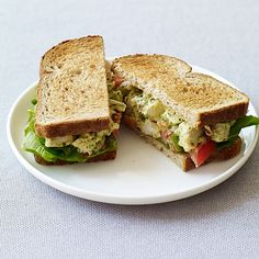 """Pesto Chicken Salad Sandwiches ~Looks like a good lunch!~ """"These upscale chicken salad sandwiches are a breeze to make since they use prepared pesto and leftover or rotisserie chicken breasts. Pesto Chicken Salad Sandwich Recipe, Best Chicken Salad Recipe, Pesto Chicken Salads, Sandwich Recipes, Chicken Sandwich, Pesto Salad, Pesto Recipe, Dinner Recipes For Kids, Healthy Dinner Recipes"""