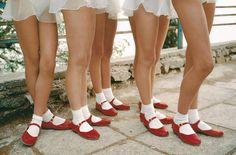 little lace,red maryjanes&socks.