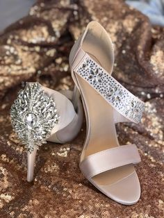 All anout the bling! Wedding shoes with heel embellishment #oparishoes #weddingshoes #nudeweddingshoes www.opari.co.za