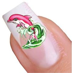 Blue Pink Dolphin Nail Stickers, Water Decals, Tatoos, Transfers 01.03.042