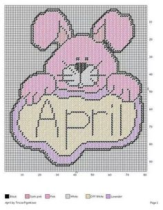 APRIL *BUNNY RABBIT* by TRICIA*PIGSNKISES -- WALL HANGING