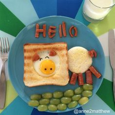Creative breakfast arrangements - Chinese mother surprises her kids - Creative food art! Cute Snacks, Cute Food, Good Food, Funny Food, Fruit Snacks, Breakfast For Kids, Best Breakfast, Breakfast Ideas, Breakfast Dishes