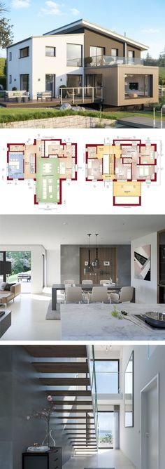 Versetztes Pultdach Haus modern mit Galerie & Büro Anbau - Einfamilienhaus bauen Grundriss Fertighaus Concept-M 170 Villingen Schwenningen Bien Zenker Hausbau Ideen - HausbauDirekt.de