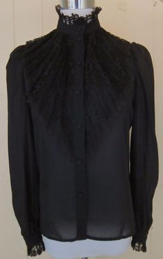 Vintage Rae Hepburn Black Sheer Pleated Lace L/S Victorian Steampunk Top 5/6 #RaeHepburn #Blouse