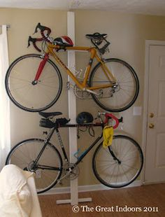 DIY bike rack-perfect for Aaron...this is his mode of transportation to work.:)