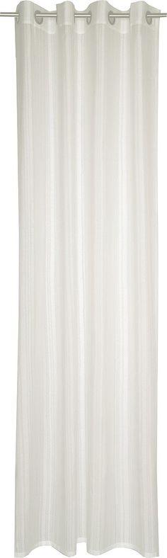 Details:  Die angegebenen Maße sind Stoffmaße. Am Fenster fertig dekoriert reduziert sich die Breite um ca. die Hälfte., mit geradem Abschluss,  Details Aufhängung Ösen:  Aufhängung erfolgt mittels Ösen an der Gardinenstange.,  Design:  Glatte Oberfläche, Gemustert, Mit farbigen Längsstreifen, Ausbrenner,  Material:  85% Polyester, 15% Baumwolle,  Pflegehinweis:  waschbar bei 30° C, Schonwaschg...