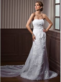 Wedding Dresses - $241.99 - Empire Sweetheart Watteau Train Satin Tulle Wedding Dress With Ruffle Lace Beading  http://www.dressfirst.com/Empire-Sweetheart-Watteau-Train-Satin-Tulle-Wedding-Dress-With-Ruffle-Lace-Beading-002000117-g117