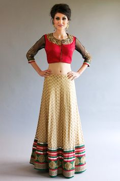Cream Red Green Banarsi Lehenga
