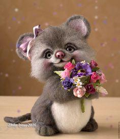 Needle felted Mouse | Купить Мышка - серый, мышь, мышка, мышка валяная, мышка игрушка, мышка из шерсти