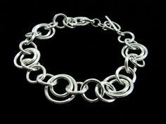 Linked Sterling Silver Bracelet by TwoPennyJewelry on Etsy