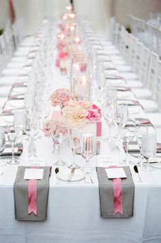 pink and gray wedding - love that it goes together. My wedding colors are peah pink coral and grey