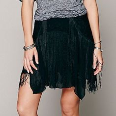 SALE!! 🎉 Free People skirt ((FREE SHIP on ♏️ercari)) Super cute black and lace fringe skirt brand new with tags! Free People Skirts