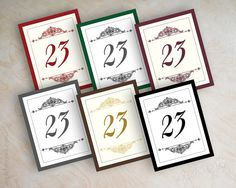Wedding table number, table number cards, table numbers for wedding reception, victorian design, black and white, Aubrey on Etsy, $30.00
