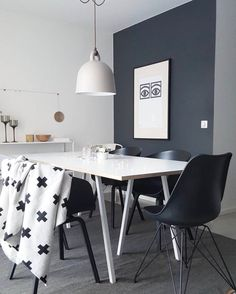 Add some metallic accents to a monochrome interior to add some depth to your space. :: The Hay Vitra Eames DSR & Normann Copenhagen Bell lamp all look great together in this dining space. Old Chairs, Cafe Chairs, Dining Table Chairs, High Chairs, Vitra Chair, Rooms Ideas, Monochrome Interior, White Home Decor, White Houses