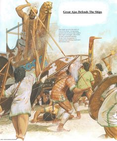 """GREAT AJAX Defends The Ships. """"...Ajax ready and waiting there  would stab each man with his long, rugged pike— twelve he impaled point-blank, struggling up the hulls."""" - Homer's Iliad, Book 15 (Peter Connolly/Robert Fagles/user: Aethon)"""